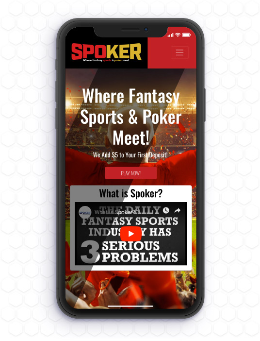 Spoker website featured in a mobile device